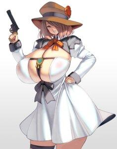 Rating: Questionable Score: 9 Tags: areola dress garter gun masao no_bra see_through User: popcorn1239