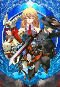 Rating: Safe Score: 10 Tags: blazblue hazama kisaragi_jin noel_vermillion ragna_the_bloodedge sword tsubaki_yayoi User: Radioactive