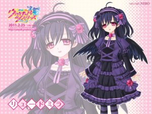 Rating: Safe Score: 14 Tags: catwalk dress gothic_lolita jpeg_artifacts kamei ljudmila lolita_fashion seisenki_valkyrie_sisters_~yami_ni_ochita_idol~ thighhighs wallpaper wings User: topcdmouse