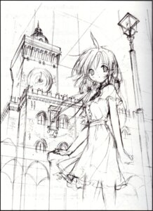 Rating: Safe Score: 9 Tags: binding_discoloration fancy_fantasia monochrome screening sketch ueda_ryou User: suika123