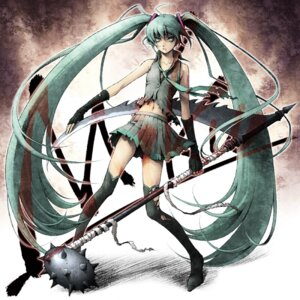 Rating: Safe Score: 10 Tags: hatsune_miku kayu thighhighs torn_clothes vocaloid User: yumichi-sama