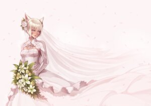 Rating: Safe Score: 20 Tags: animal_ears cleavage dress final_fantasy final_fantasy_xiv haimerejzero miqo'te wedding_dress User: Mr_GT