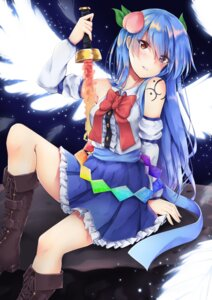 Rating: Questionable Score: 20 Tags: akiteru heels hinanawi_tenshi sword tattoo touhou User: hiroimo2