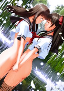 Rating: Questionable Score: 82 Tags: bottomless nanahime no_bra seifuku shirt_lift underboob wet yuri User: RaulDJ747
