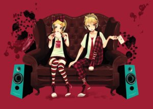Rating: Safe Score: 8 Tags: headphones kagamine_len kagamine_rin moka thighhighs vocaloid User: Brufh