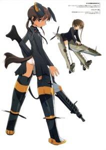 Rating: Safe Score: 18 Tags: gertrud_barkhorn gun mecha_musume megane pantsu shimada_humikane strike_witches User: silentwolf