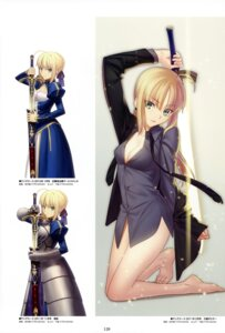 Rating: Safe Score: 90 Tags: armor bottomless cleavage dress_shirt fate/stay_night saber sword takeuchi_takashi type-moon User: Radioactive