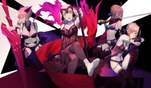 Rating: Questionable Score: 41 Tags: artoria_pendragon_alter_(fate/grand_order) bra cleavage fate/grand_order feet garter_belt heroine_x horns jeanne_d'arc jeanne_d'arc_(alter)_(fate) lingerie megane pantsu saber saber_alter salmon88 see_through stockings sword thighhighs User: RyuZU