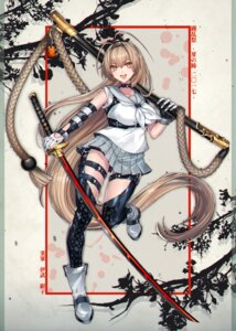 Rating: Safe Score: 53 Tags: katagiri_hachigou seifuku sword thighhighs touran-sai User: Mr_GT