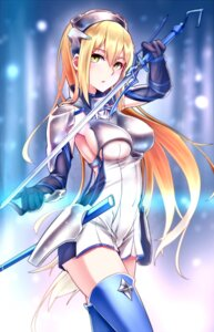 Rating: Safe Score: 128 Tags: aiz_wallenstein armor dress dungeon_ni_deai_wo_motomeru_no_wa_machigatteiru_darou_ka erect_nipples no_bra shijiu_(adamhutt) sword thighhighs User: Mr_GT