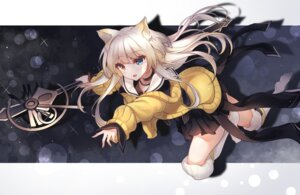Rating: Safe Score: 15 Tags: animal_ears arknights heterochromia mecha_(alswp) nightmare_(arknights) seifuku sweater thighhighs weapon User: Mr_GT