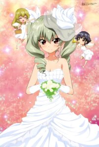 Rating: Safe Score: 66 Tags: anchovy carpaccio chibi dress girls_und_panzer pepperoni wedding_dress wings yoshida_nobuyoshi User: drop