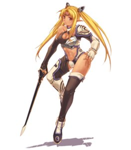 Rating: Safe Score: 15 Tags: armor cleavage elf hirano_katsuyuki idea_factory leotard pointy_ears spectral_souls spectral_souls_ii sword tarnard thighhighs User: Radioactive