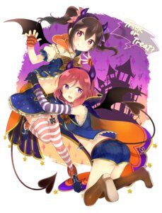 Rating: Safe Score: 41 Tags: ass halloween horns kakizato_shinano love_live! nishikino_maki stockings tail thighhighs wings yazawa_nico User: charunetra