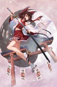 Rating: Safe Score: 22 Tags: greenkohgen hakurei_reimu skirt_lift sword torii touhou User: Mr_GT
