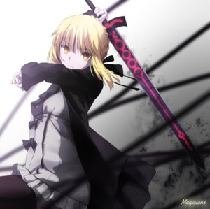 Rating: Questionable Score: 58 Tags: dress fate/stay_night fate/zero magicians saber saber_alter sword thighhighs User: sylver650