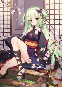 Rating: Questionable Score: 32 Tags: japanese_clothes kikistark murasame_(senren_banka) no_bra senren_banka skirt_lift thighhighs User: Mr_GT