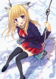 Rating: Safe Score: 51 Tags: amakusa_tobari animal_ears nekomimi seifuku tail thighhighs User: blooregardo