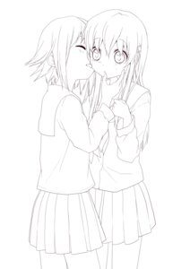 Rating: Questionable Score: 9 Tags: line_art namori seifuku yuri User: Manabi