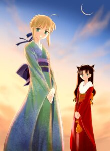 Rating: Safe Score: 13 Tags: crazy_clover_club fate/stay_night kimono saber shirotsumekusa toosaka_rin User: sayane