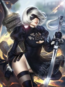 Rating: Safe Score: 8 Tags: ayyasap cleavage dress leotard nier_automata possible_duplicate see_through skirt_lift sword thighhighs yorha_no.2_type_b User: charunetra