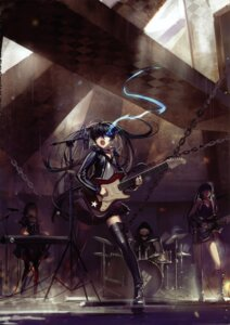 Rating: Safe Score: 61 Tags: alphonse black_gold_saw black_rock_shooter black_rock_shooter_(character) dead_master guitar strength thighhighs vocaloid white_datura User: Aurelia