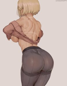 Rating: Questionable Score: 47 Tags: android_18 ass breasts dragon_ball dragon_ball_z no_bra open_shirt pantyhose robutts shirt_lift sweater tan_lines User: BattlequeenYume