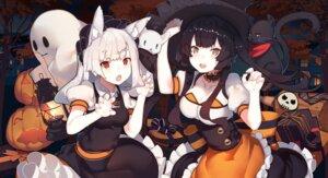 Rating: Safe Score: 38 Tags: animal_ears cleavage dress halloween neko rain_lan witch User: Mr_GT