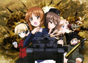 Rating: Safe Score: 30 Tags: darjeeling girls_und_panzer katyusha kay_(girls_und_panzer) nishizumi_maho nishizumi_miho seifuku uniform weapon User: drop