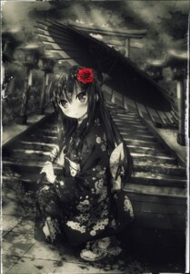 Rating: Safe Score: 30 Tags: kimono kuroneko_(yxmikan) monochrome umbrella User: Mr_GT