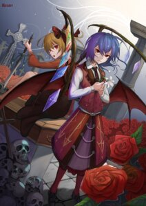 Rating: Safe Score: 11 Tags: flandre_scarlet gothic_lolita lolita_fashion recare remilia_scarlet signed sword touhou wings User: charunetra