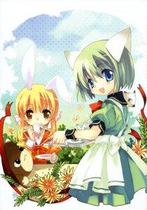 Rating: Safe Score: 8 Tags: animal_ears bunny_ears greenwood ikusabe_lu midori mikan nekomimi User: midzki