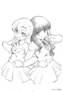 Rating: Safe Score: 7 Tags: kashii_nanako kihara_maya monochrome sketch toradora! User: superogira