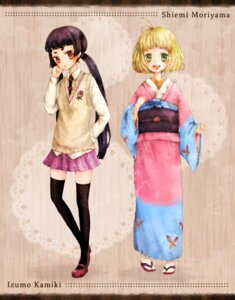 Rating: Safe Score: 9 Tags: ao_no_exorcist kamiki_izumo kimono moriyama_shiemi mxnxm seifuku thighhighs User: Radioactive