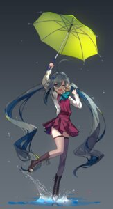 Rating: Safe Score: 66 Tags: kantai_collection kiyoshimo_(kancolle) seifuku thighhighs tsubasa199 umbrella User: Zenex