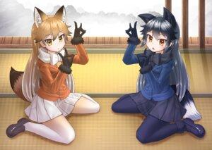 Rating: Safe Score: 13 Tags: animal_ears ezo_red_fox kakutasu_(akihiron_cactus) kemono_friends pantyhose silver_fox tail User: Mr_GT