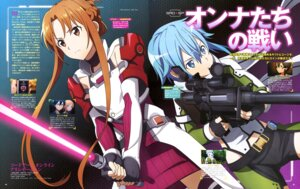 Rating: Safe Score: 30 Tags: aqua_inc. armor asuna_(sword_art_online) gun kirito shino_asada sinon sword sword_art_online sword_art_online_alicization thighhighs User: drop