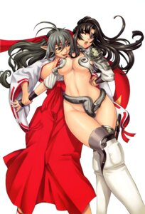 Rating: Questionable Score: 35 Tags: armor cleavage cosplay echidna eiwa elf erect_nipples keltan miko no_bra nopan open_shirt pointy_ears queen's_blade sword thighhighs tomoe yuri User: abominable