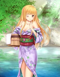 Rating: Questionable Score: 49 Tags: bathing cleavage karentain onsen thighhighs yukata User: wildazure