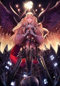 Rating: Safe Score: 93 Tags: armor dark_angel_olivia dress horns pip_(artist) shingeki_no_bahamut sword thighhighs wings User: Mr_GT