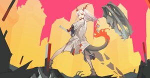 Rating: Questionable Score: 5 Tags: arknights fixro2n horns nian_(arknights) pointy_ears sword tail User: Dreista