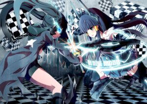 Rating: Safe Score: 23 Tags: aoki_reika bike_shorts black_rock_shooter black_rock_shooter_(character) crossover meron_to_maria pretty_cure smile_precure! sword thighhighs vocaloid User: eridani