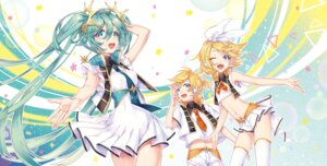 Rating: Safe Score: 25 Tags: dress hatsune_miku headphones kagamine_len kagamine_rin roten_(rotenburo) thighhighs vocaloid User: RyuZU