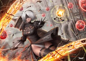 Rating: Safe Score: 51 Tags: cleavage dress enrique_marcell nier_automata pantsu sword thighhighs watermark yorha_no.2_type_b User: Mr_GT