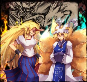 Rating: Safe Score: 5 Tags: animal_ears horns hoshiguma_yuugi maho_(boku_no_kao_wo_otabeyo) tail touhou yakumo_ran User: Amperrior