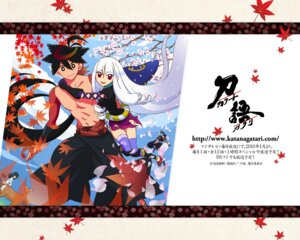 Rating: Safe Score: 5 Tags: japanese_clothes katanagatari maniwa_koumori sword thighhighs togame wallpaper yasuri_nanami yasuri_shichika User: thfp