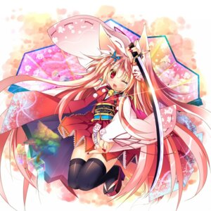 Rating: Safe Score: 27 Tags: animal_ears kimono kitsune sword thighhighs tinkvov User: inumimi.7