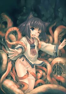 Rating: Explicit Score: 69 Tags: animal_ears bottomless extreme_content hitomaru loli nekomimi shrine tentacles User: tenyuhuang