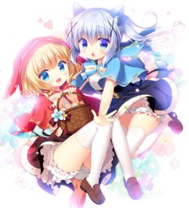 Rating: Safe Score: 51 Tags: animal_ears big_bad_wolf bloomers cosplay gochuumon_wa_usagi_desu_ka? kafuu_chino kirima_sharo little_red_riding_hood_(character) sasai_saji tail thighhighs User: Mr_GT