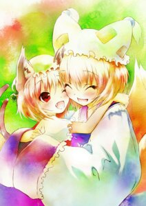 Rating: Safe Score: 19 Tags: animal_ears chen kimono saeki_thoma tail touhou yakumo_ran User: fireattack
